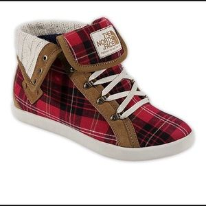 The North Face Plaid high top sneakers